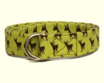 Deer Belt SALE Animal Fabric Belt Chartreuse D-Ring Belt / Christmas Ribbon Belt sized for girls boys toddlers - Yellow Green Whimsical Deer