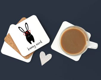 Personalized Bunny Coasters, Bunny Gift, Bunny Coasters, Pet Coaster Set, Bunny, Rabbit, Hipster Bunny, Bunny Decor,Bunny Coaster (Set of 2)