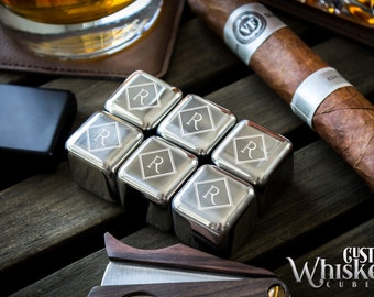 Groomsmen Gift, Personalized Whiskey Stones, Custom Whiskey Cubes, Wedding Gift, Stainless Steel Cubes, Father's Day Gift