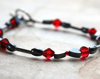 Mothers Day Gift Hematite Heart Bracelet Womens or Mens Custom size Thin Minimal Bracelet Red Crystals Black Gothic Bracelet Metallic Gray