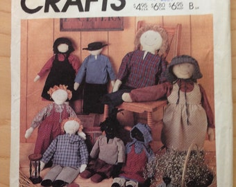 "McCalls 2869 Primitive Folk Dolls and Doll Pin in Prairie Clothes with Carrier by Marti Michell - Sizes 10"" 22"" and 32"""