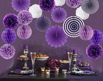 Hanging Paper Fan Set,  Tissue Paper Pom Poms Flower Fan and Honeycomb Balls for Birthday Baby Shower Wedding Festival Decor - Purple