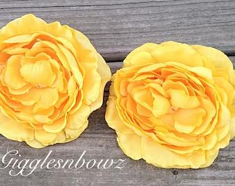 "2 Ruffle Ranunculus Flowers- Yellow Ranunculus 4"" Flower Heads- Wedding Supplies- DIY Wedding- Bridal Bouquet- Headband Flower"
