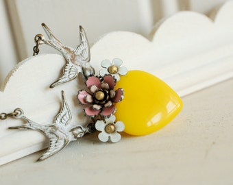 heart tattoo necklace, yellow glass heart pendant, pink flower necklace, vintage enamel flower, floral heart jewelry