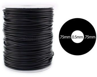 "75 Ft - Black Rubber Cord - 2mm (1/16"") - Hollow Rubber Tubing - 1/16"" OD x 1/64"" ID - For Beading, Jewelry, Repairs - Premium Rubber Tube"