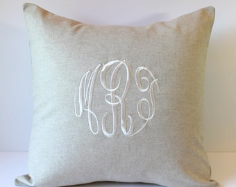 Decorative Monogram Pillow Cover. Personalized. Made to fit an 18x18 Throw Pillow. Rustic Farmhouse Decor. Cottage Chic Gift. SewGracious
