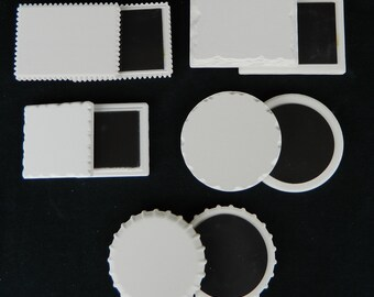 MAGNET SAMPLE PACK.  15 Blank Ceramic Stone Magnets - 3 of each style