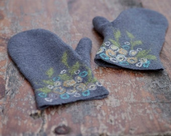 Felted grey wool mittens with flowers women merino wool gloves flowered cuff aqua mint arm warmers floral wrist Christmas gift