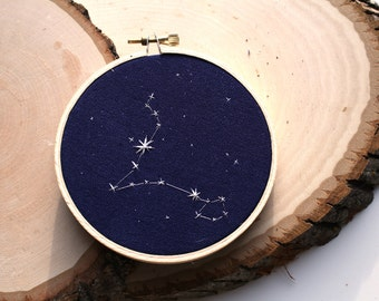 """Pisces Constellation Embroidery 4"""" Hoop"""
