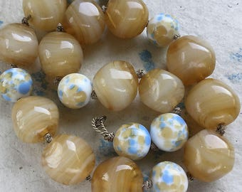 Mixed strand - Yummy Caramel Vintage Glass Beads, 1940-50s, Mostly beige beads