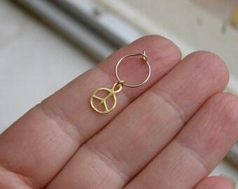 Helix Earring , Cartilage Hoop , Peace Sign Helix Hoop , Gold  Helix Piercing ,  Nose Hoop 22ga/20ga ,  8mm inner diameter , Single