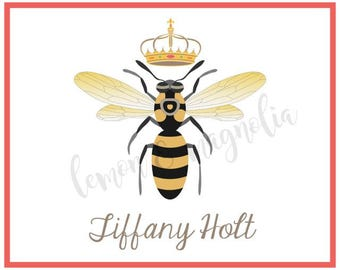 Queen Bee Personalized Notecards