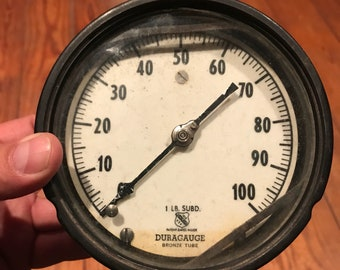 Vintage Gauge . Large Ashcroft Bronze Tube DuraGauge Steam or Pressure Gauge . Vintage indistrail gauge . Steampunk gauge . Indistrial decor