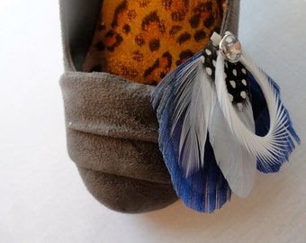CHLOE in Blue Peacock Feather Shoe Clips