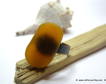 MERMAID's Tear RING - Organic Dark Amber Sea Glass Adjustable Ring with Genuine Natural Amalfi Sea Glass