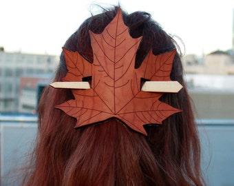 Leaf Leather Barrette