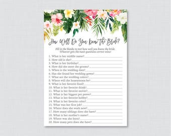 Tropical Bridal Shower How Well Do You Know the Bride To Be Game - Printable Hawaiian Luau Bridal Shower Who Knows the Bride Best? 0032