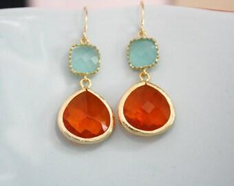 Gold Earrings, Tangerine Orange Aqua Glass Earrings, Bridesmaids Jewelry, Bridesmaid gifts, coral earrings, Best Friend Gifts, Birthday gift