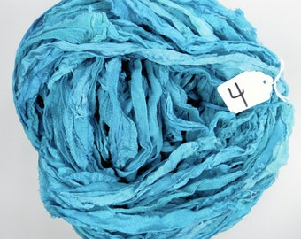 Silk CHIFFON Ribbon, Sari Silk Chiffon ribbon, Chiffon ribbon, teal sari ribbon, teal ribbon, tassel supply, weaving supply, knitting supply