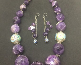 Exquisite large graduated faceted Amethyst spheres necklace and earring set