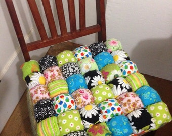 Dining Chair Cushions Custom Made in Your Favorite Colors - Bubble Quilt Style Biscuit Quilt Chair Pad Seat Cushion - Great for Mothers Day