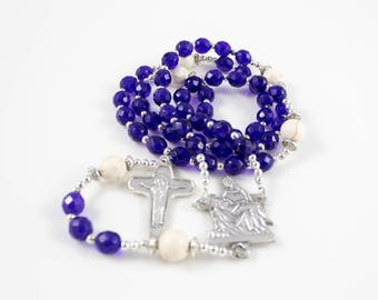 Blue Glass Bead Rosary, Prayer Beads, White Cappuccino Bead, Silver Tone Crucifix, Catholic Rosaries, Religious Gift