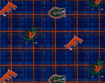 "Fat Quarter Only (18""x22"") of University of Florida Gators Plaid Fabric"