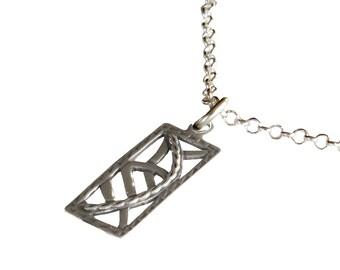 Handmade Oblong Boho Pendant, Sterling Silver Pendant, Unique Designer Women Pendant, Israel Jewelry, Oxidized 925 Silver Retro Pendant