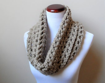 Chunky Cowl, Beige Cowl, Ready to Ship