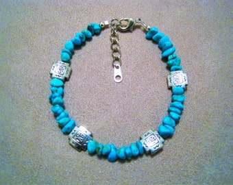 Turquoise and Silver Bracelet- Non Profit Fighting Childhood Obesity.Proceeds donated to Carter's Kids, Building Playgrounds in America