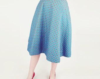 "50s Quilted Cotton Full Skirt - Aqua Blue Foulard Print 26"""