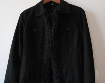 Black tailored jacket with fake fur