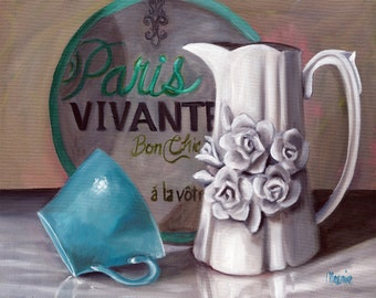 "Parisian Still life, 16"" x 20"" varnished painting, french country art, french country, kitchen art, Oil painting, original art,"