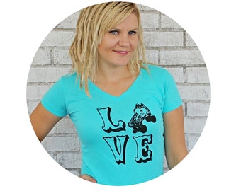 Roller Derby Love Graphic Tee Shirt, Short Sleeved Light Turquoise Sporty Vneck Tee, The Word Love, Hand Printed Roller Skate Ladies Clothes