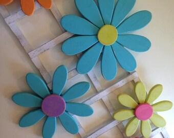 Small Flowers, daisy flowers, flower wall art, distressed, shabby chic, spring decor, girls bedroom, garden art, wood flowers