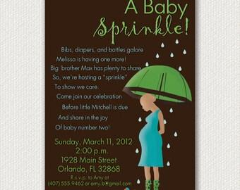 Baby Sprinkle Invitations- Rain Themed
