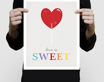 candy art love is sweet lolly pop print - colourful room decor, kids play room, baby girls nursery, children, red, sweets, lollies, artwork