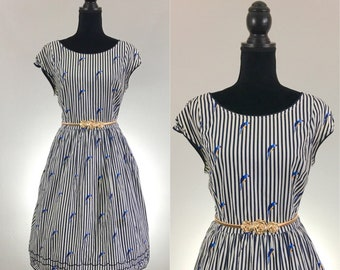 Polly Striped Dress, Scalloped Cotton Dress, Summer Dress, Dress Size Large, Novelty Print Dress, Dress With Pockets, VLV Dress, Rockabilly