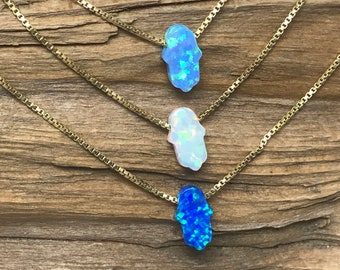 Hamsa OPAL Charm 14KT Gold Filled Necklace - Bat Mitzvah Gift, 12th Jewish Birthday, Bat Mitzvah Party Favors, Girls Party Gifts , Take Home