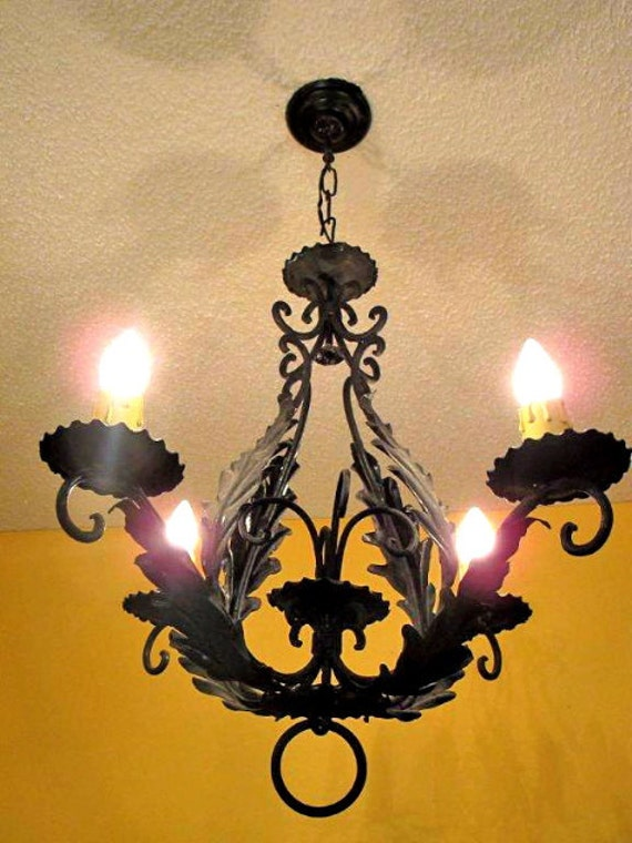 Sergio merlin french provincial cast iron 4 light chandelier circa 1950 aloadofball Gallery