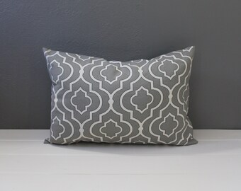 Modern Gray Graphic Pillow: Grey Moroccan Throw Pillow, Steel Gray and White Quatrefoil, Classic Home, Lattice Lumbar Pillow--12 x 18 inch