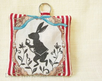 White Rabbit Earbud Holder - Alice in Wonderland Mini Keychain Pouch for Small Items with optional Swivel Clip, Fabric Case for Guitar Picks