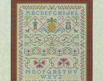 "Colonial Sampler Alphabet Counted Cross Stitch Pattern SOPHIA MARY'S SAMPLER from Whispered by the Wind Designs - 8.75"" x 10.5"" on 14/28 ct"
