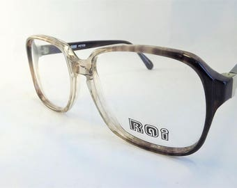 Mens Eyeglasses, Mens Geek Tortoise Shell Glasses, Square Brown Glasses, Vintage Mens Glasses, Flexible Temple Arms, NOS