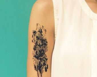 large temporary tattoo vintage flower bouquet tattoo valentine gift for her huge black floral tattoo fake tattoo romantic tattoo boho tattoo