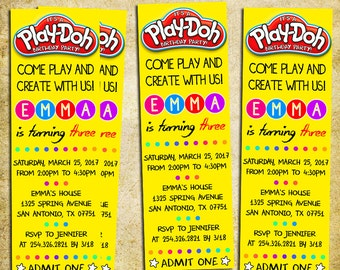 Play Doh Invitation - Play-Doh Ticket Birthday Party Invite - Play Dough - Printable And Digital File - YOU PRINT