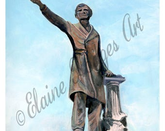 Jefferson Davis Monument, Memorial Statue Print from Original Artwork, New Orleans