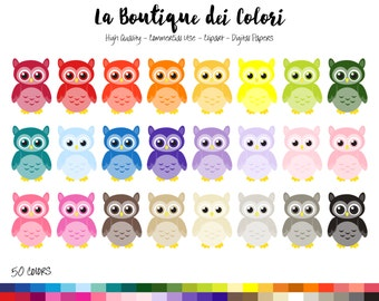50 Rainbow Owl Clipart, Cute Digital illustrations PNG, Owls, birds, animals, nursery Clipart, Planner Stickers Commercial Use