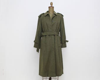 Military Green Loden Trench Coat - Vintage 1980s Olive Green Wool Jacket