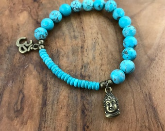 Turquoise-Dyed Howlite Stone and Wood Stretch Bracelet with 2 Antique Bronze Charms, Sanskrit Om (Aum) and Buddha, Yoga Gift, Boho